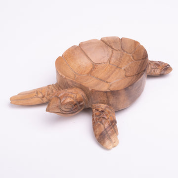 Wooden Sea Turtle Bowl with Inner Etched Shell