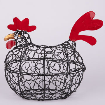 Wired Chicken Sculpture & Egg Basket