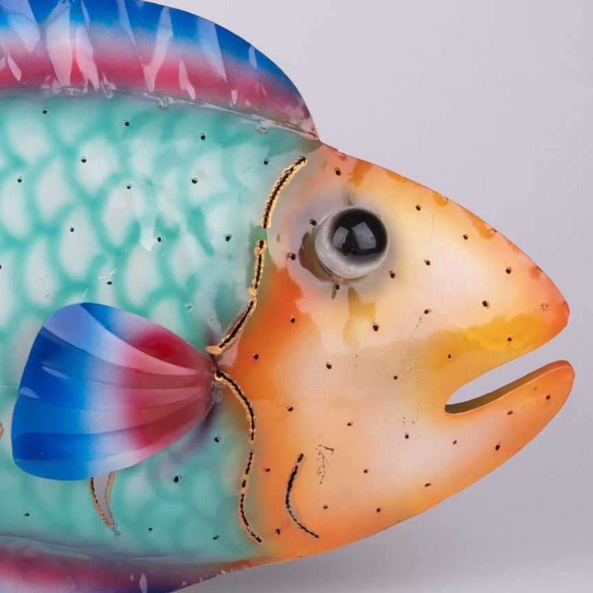 Hanging Colorful Metal Fish Sconce & Sculpture