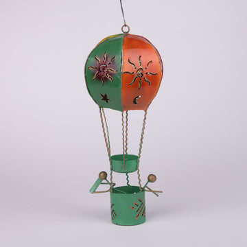 Hanging Tin Hot Air Balloon Candle Holder