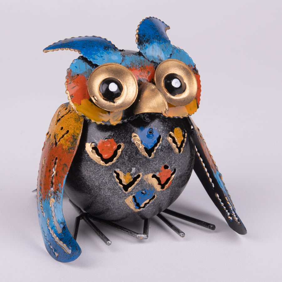 Little Painted Tufted Tin Owl