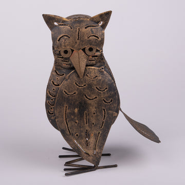 Serious Tin Owl Sculpture and Lantern