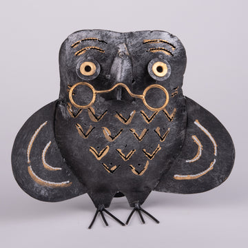 Wise Old Owl Tin Sculpture and Lantern