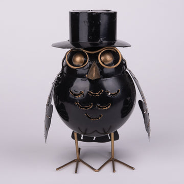 Spectacled Owl with Top Hat Tin Sculpture and Lantern