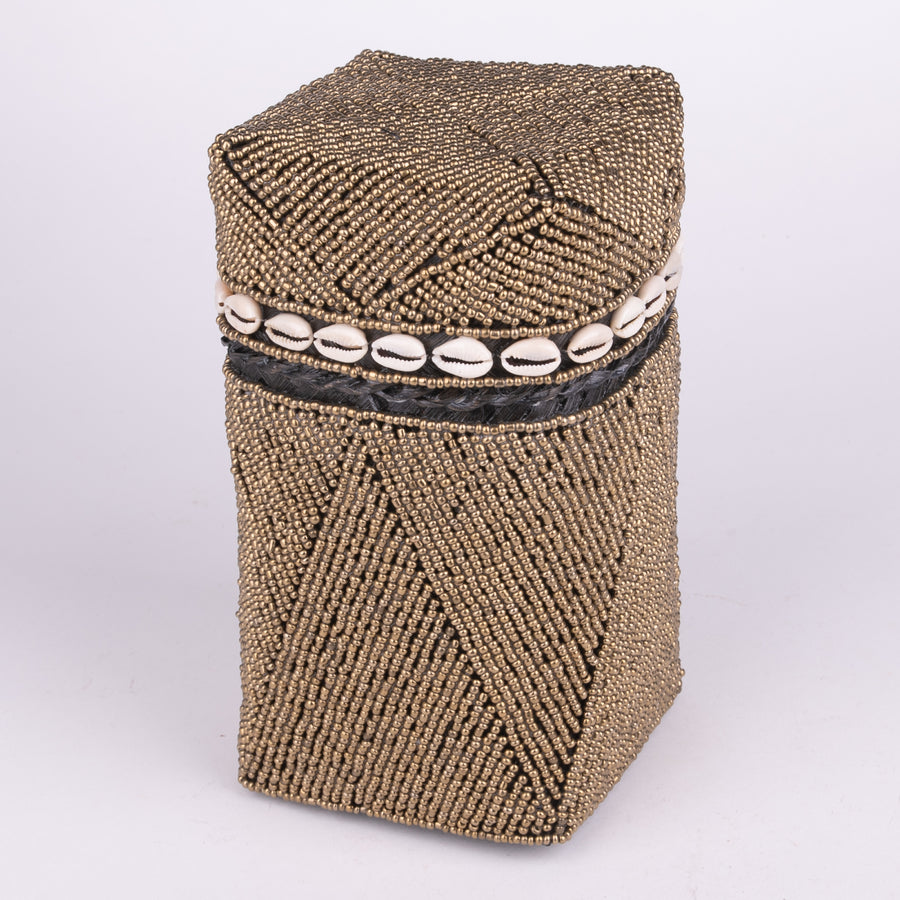 Golden Beaded Basket & Cowrie Shell Trimmed Lid