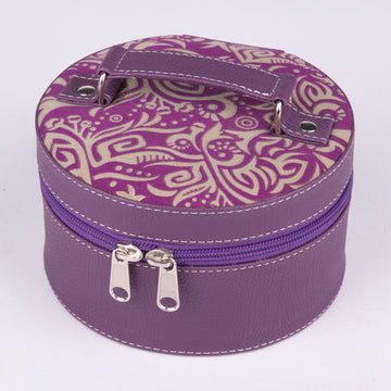 Traveling Jewelry Box in Purple Leather