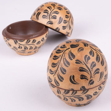 Small Batik Wood Globe Box