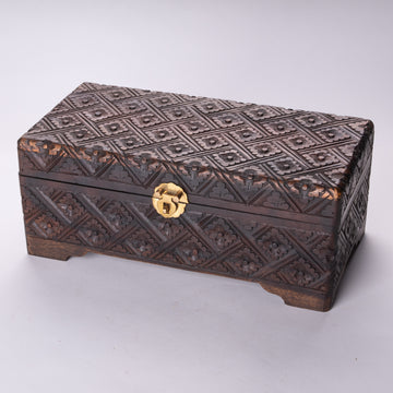 Handsome Carved Wood Motif Jewelry Box