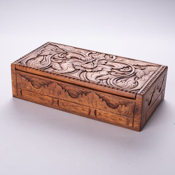 Hinged Treasure Box with Delicate Hand Carving