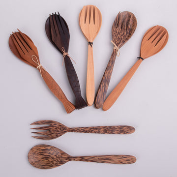 Reusable Fork & Spoon Sets with Fish Handles