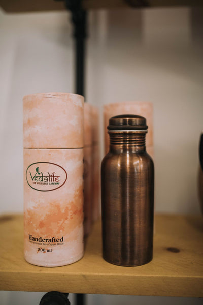 Handcrafted Copper Water Bottle With Jute Sleeve