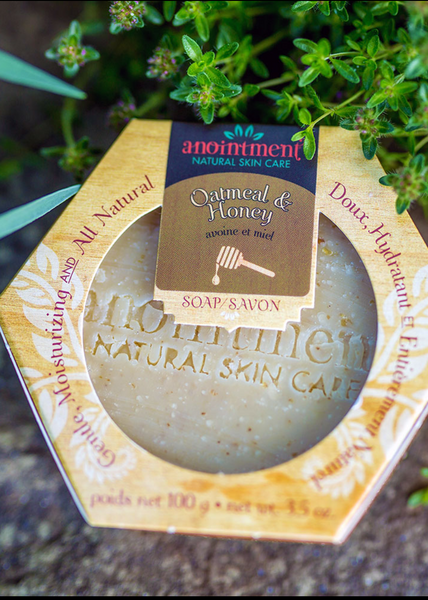 handmade natural soap bar stamped with Anointment Natural Skin Care logo packaged in a hexagon shaped paper box. The soap is on a stone surface with greenery in the background.
