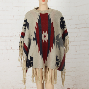 New flag sweater women's knitted shawl cloak