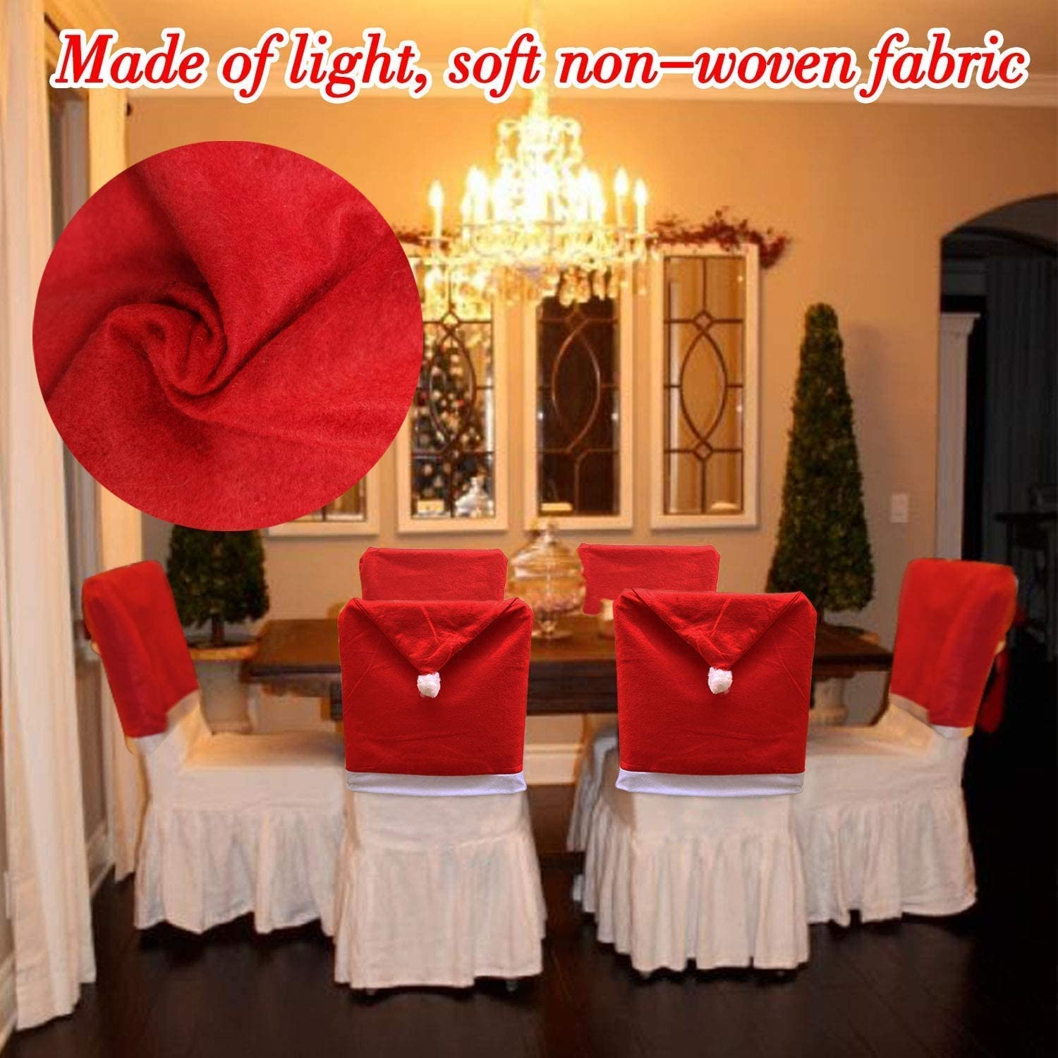 🔥Only $19.99🔥6 PACK Christmas Chair Covers Christmas Decoration Santa Hat