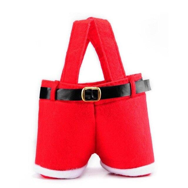 1 Pcs Merry Christmas Gift Treat Candy Wine Bottle Bag Santa Claus Suspender Pants Trousers Decor Christmas Gift Bags