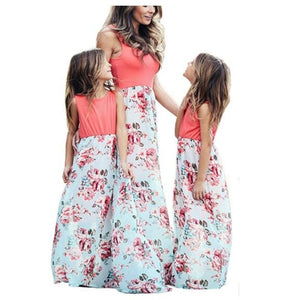 💃Mother Daughter Dresses Outfits Sleeveless Long Dress Mom And Daughter Dress Girls Mother And Me Dress Matching Family Clothes