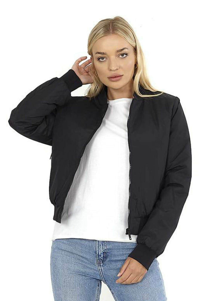 LASHRA - Black Padded Ribbed Hem Cuff Collared Swan Neck Bomber Jacket