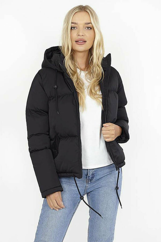 LASHRA - Bubble Padded Hooded Short Winter Puffer Jacket Coat
