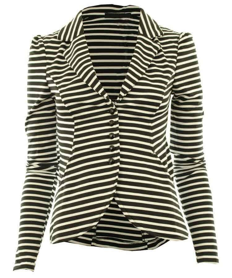 LASHRA Button Front Ponte Bold Shoulder Blazer Jacket