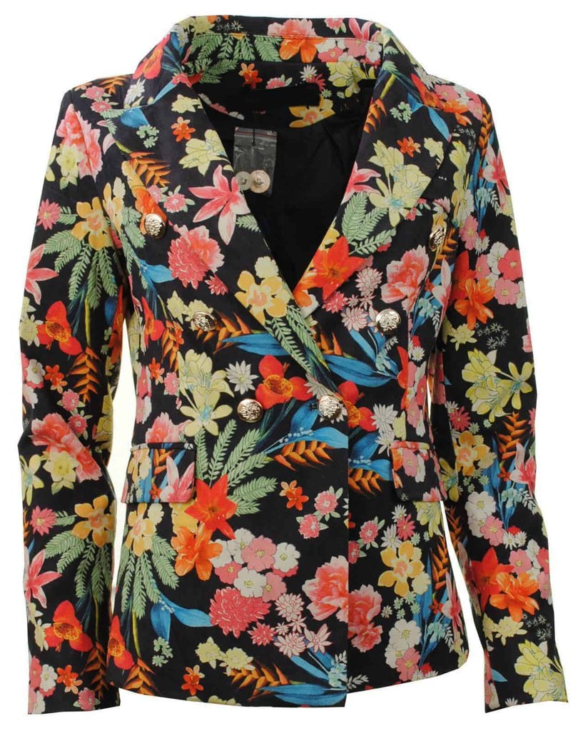 LASHRA Faux Suede Double Breasted Military Style Floral Blazer Jacket