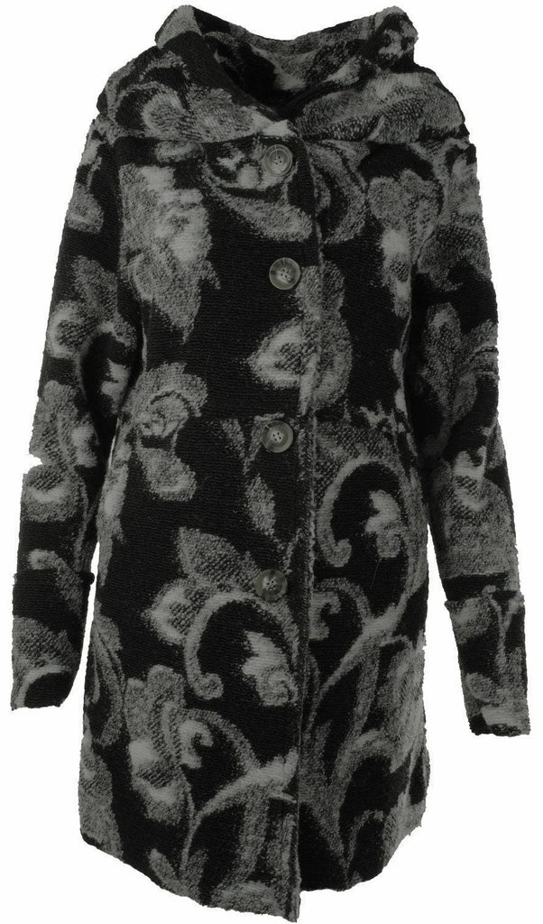 LASHRA Italian Lagenlook Floral Print Wool Mix Hooded Coat
