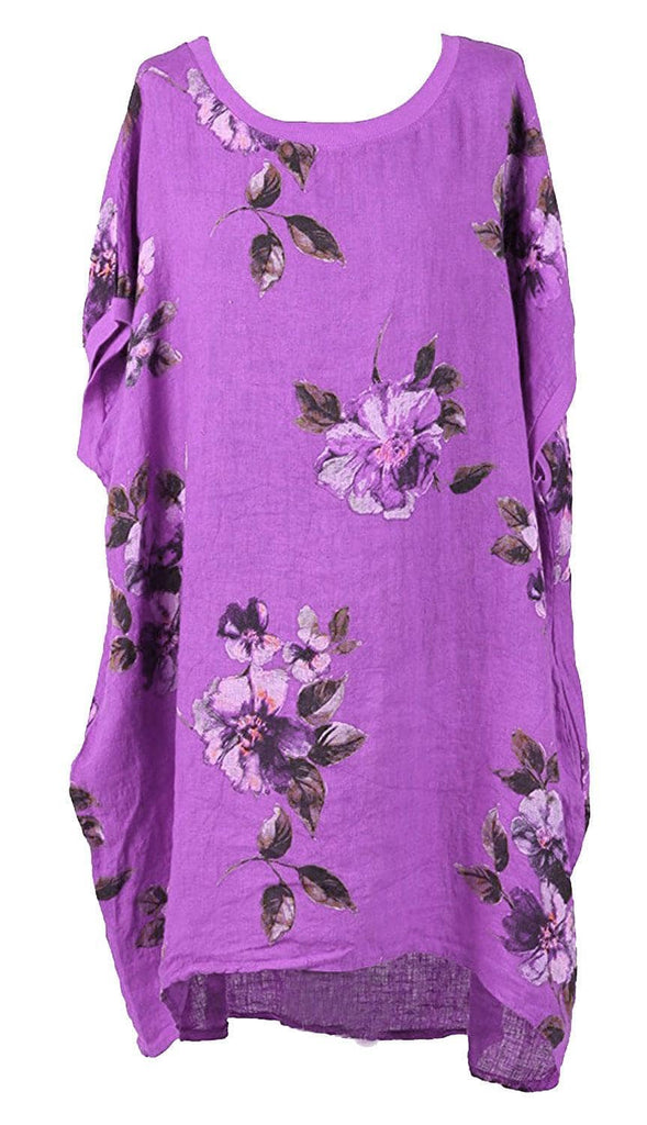 LASHRA Italian Lagenlook Plus Size Floral Linen Baggy Tunic Top