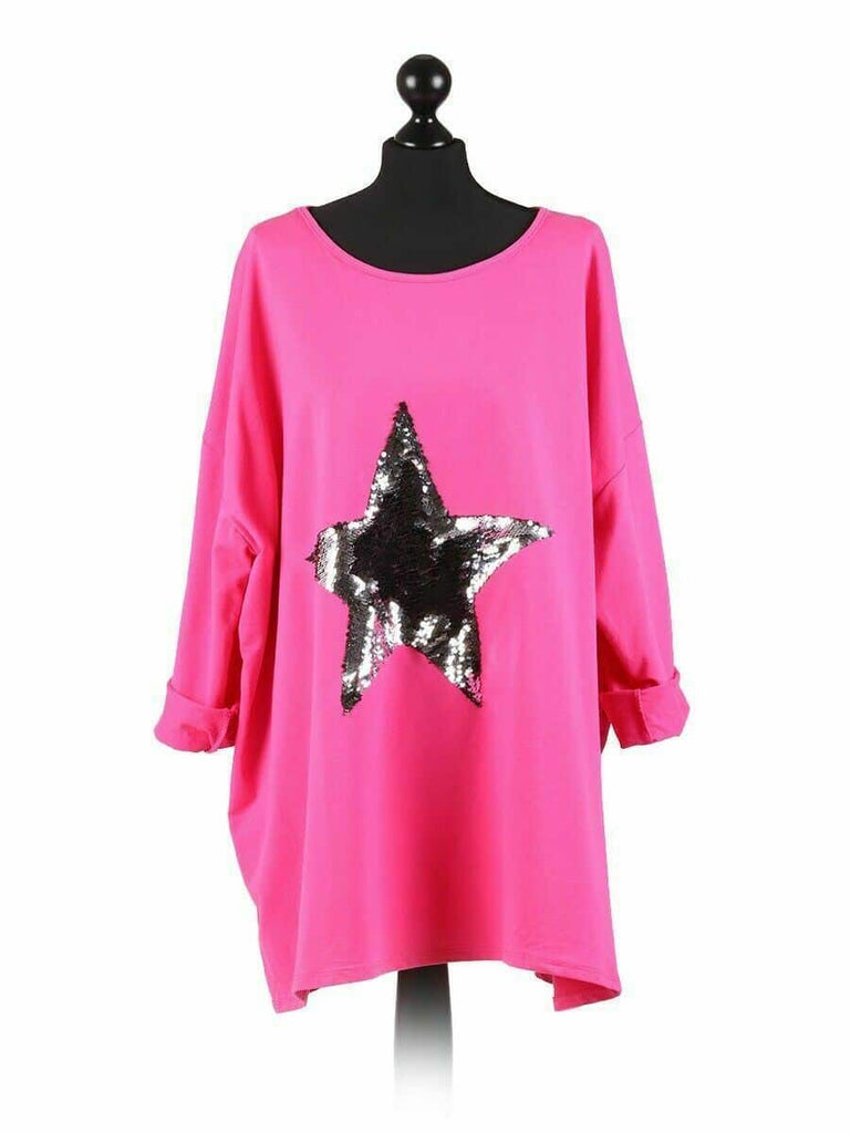 LASHRA Italian Lagenlook Sequin Star Print Oversized Jumper Top