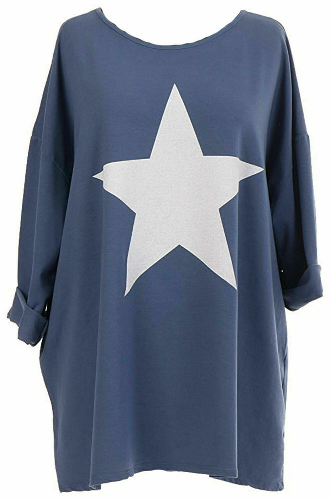 LASHRA Italian Lagenlook Star Print Oversized Jersey Jumper Top