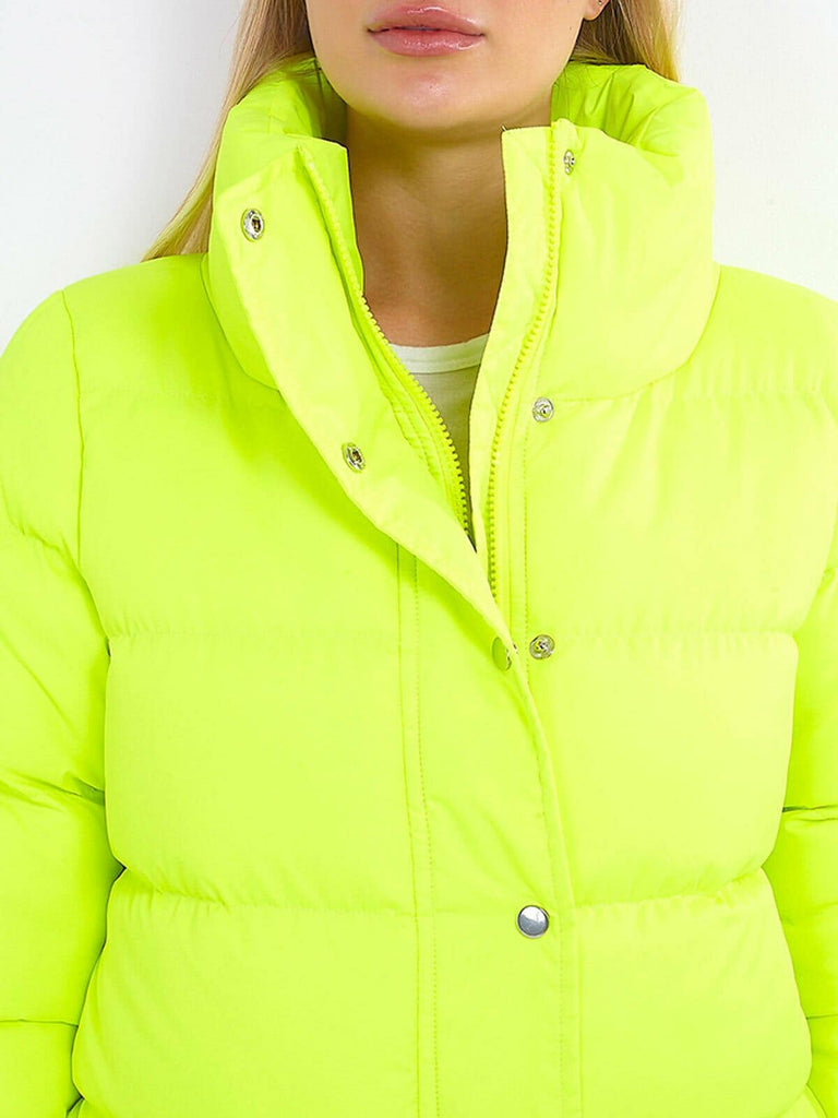 LASHRA - Plain Check Leopard Neon Funnel Neck Padded Puffer Jacket