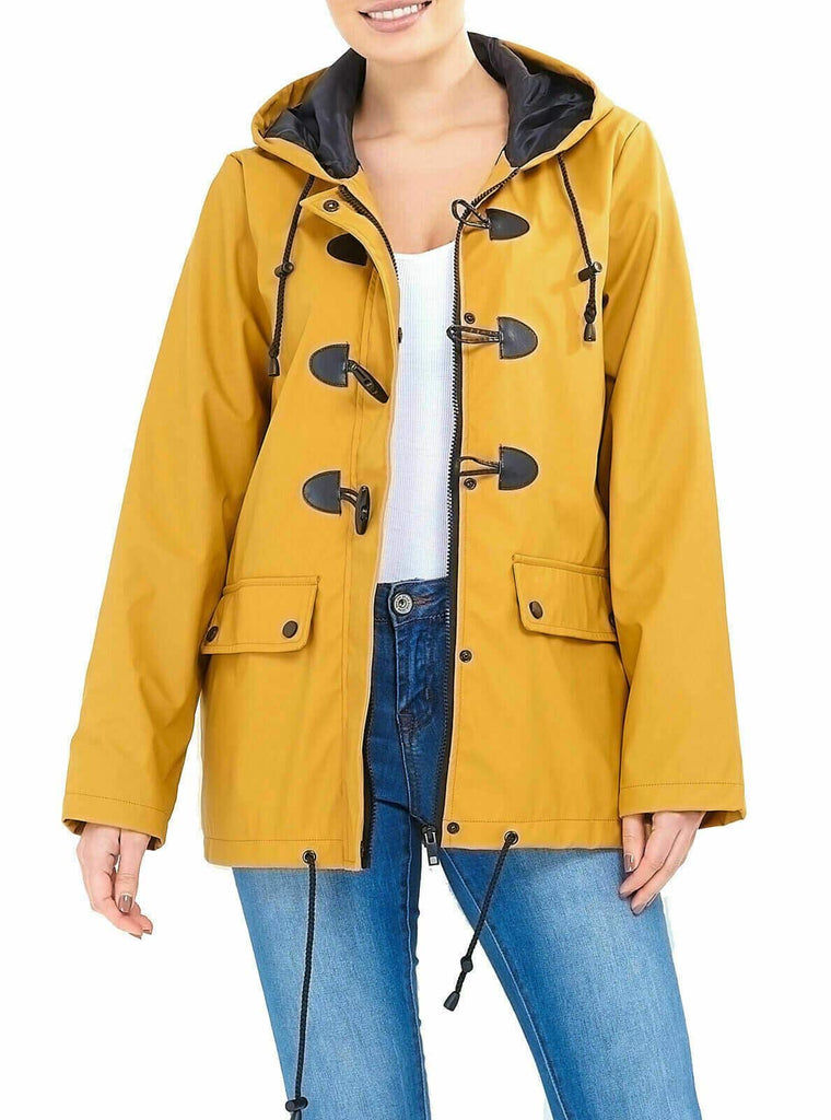 LASHRA Rubber Duffle Hooded Oversized Festival Rain Mac Jacket