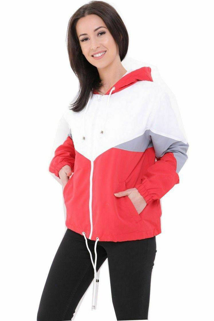 Lashra - Colour Block Windbreaker Contrast Festival Hooded Rain Mac