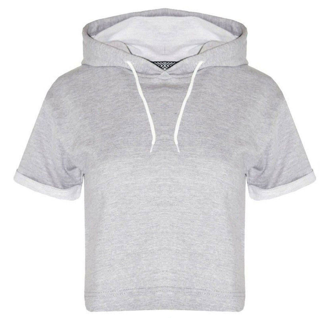 Lashra Fashion New Ladies Crop Hoodie Women Pull Over Plain Short Sleeve Hooded Sweat Shirt Top