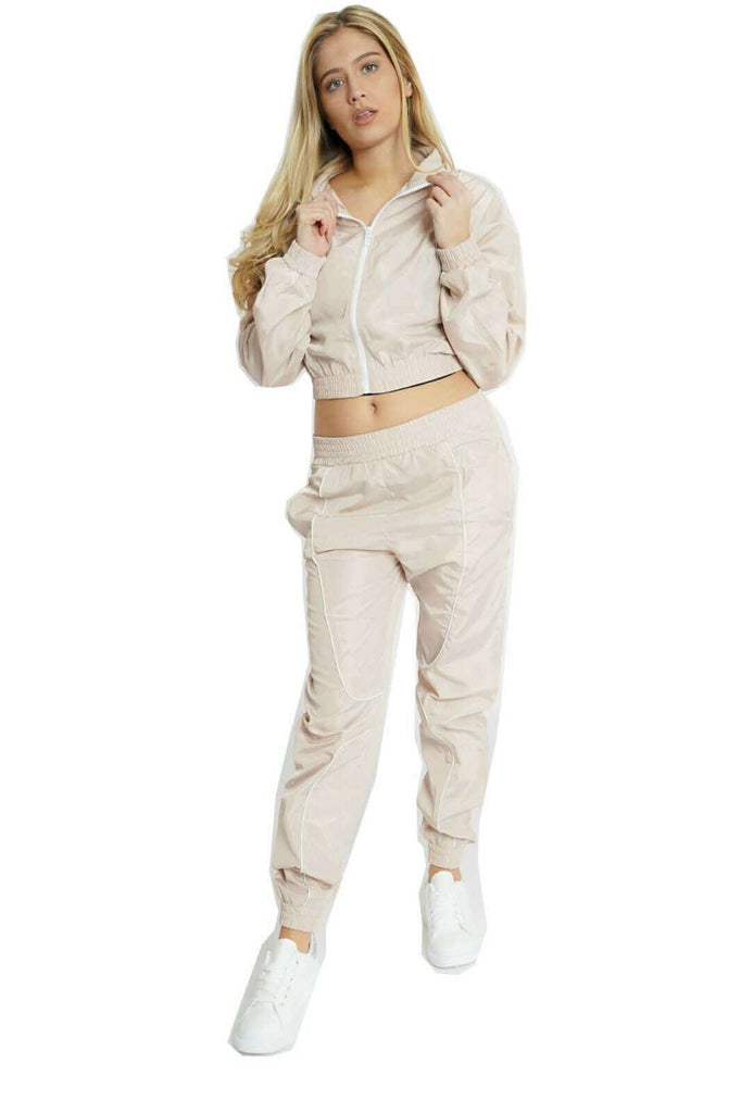 Lashra Fashion Womens Sport Shell Suit Tracksuit Zip Crop Jacket Top Elasticated Waist Trousers