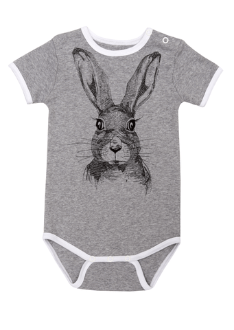 Grey Rabbit Bodysuit by Hebe