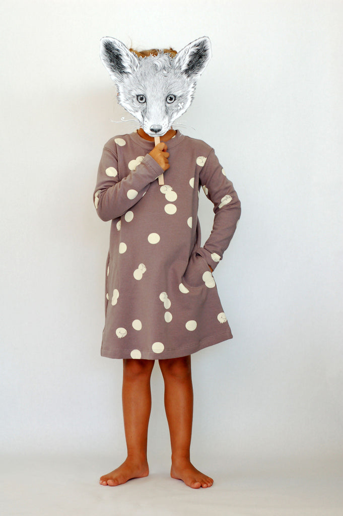 Polka-cat Sweatshirt Dress by OMAMImini