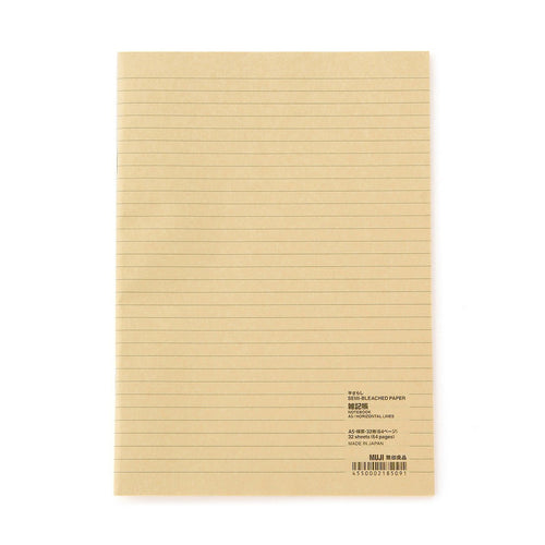 Semi-Bleached Paper Notebook / A5 / Horizontal Rule / 64 Pages