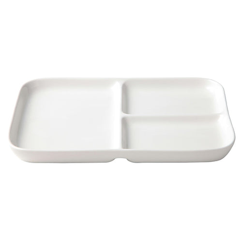 Porcelain Beige Square Plate W/Partition / L