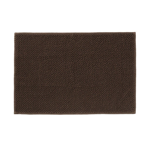 Cotton Chenille Bath Mat L Brown