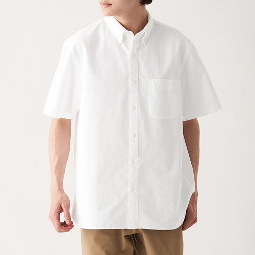 Xinjiang Cotton Washed Oxford Button Down Short Sleeve Shirt