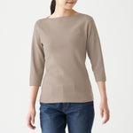 Stretch Rib Boat Neck 3/4 Sleeve T-Shirt