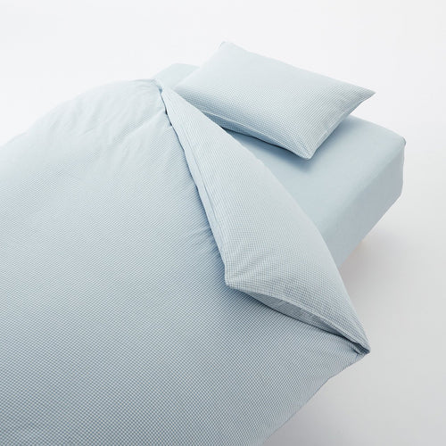 Washed Cotton Cover Set For Bed Q Blue Check