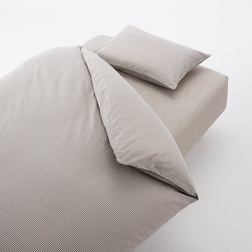 Washed Cotton Cover Set For Bed Q Light Brown Check