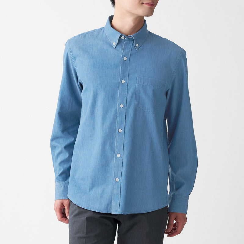Indian Cotton Denim Button Down Shirt