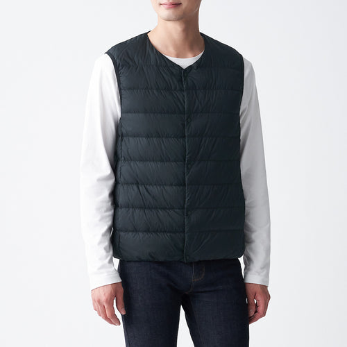 Light Weight Pocketable Collarless Down Vest