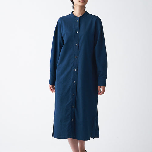 Indian Cotton Oxford Stand Collar Dress