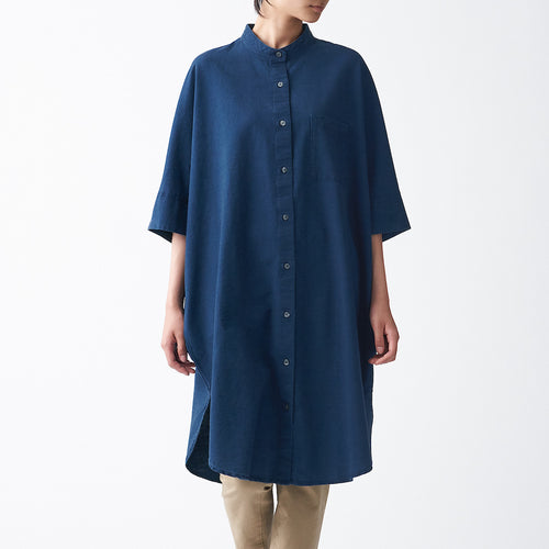 Indian Cotton Oxford 3/4 Sleeve Dress