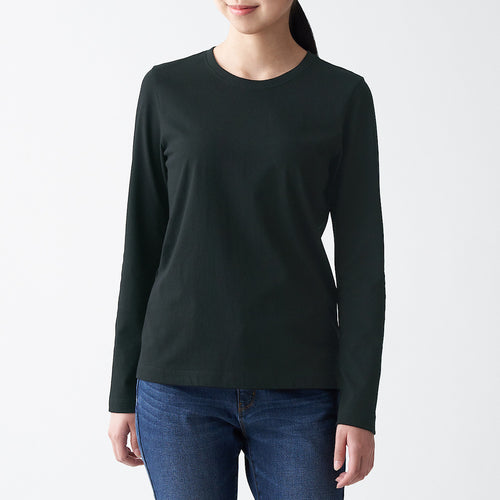 Indian Cotton Jersey Crew Neck Long Sleeve T-Shirt