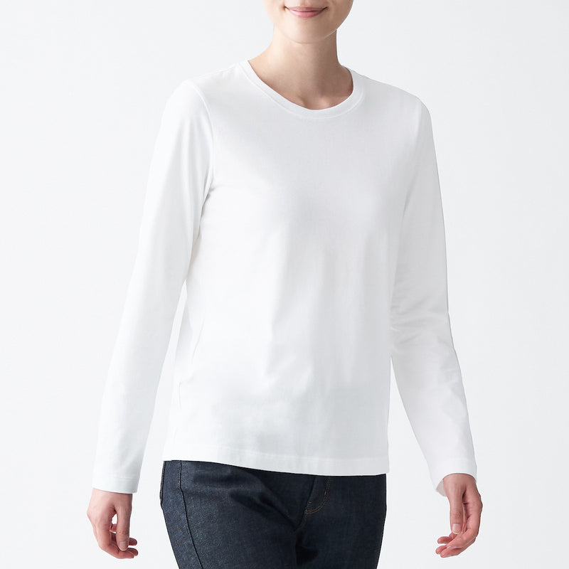 Indian Cotton Jersey Crew Neck Long Sleeve T-Shirt(White)