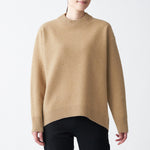 Camel Blend Boiled Wool Crew Neck Sweater