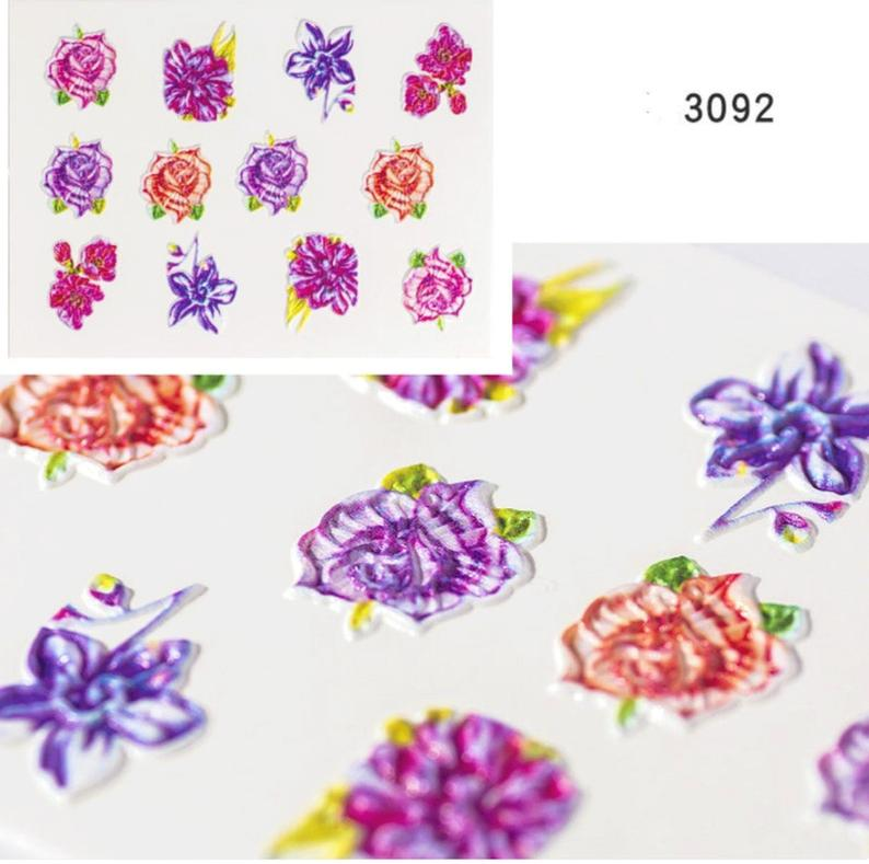 5D Embossed Floral Nail Stickers